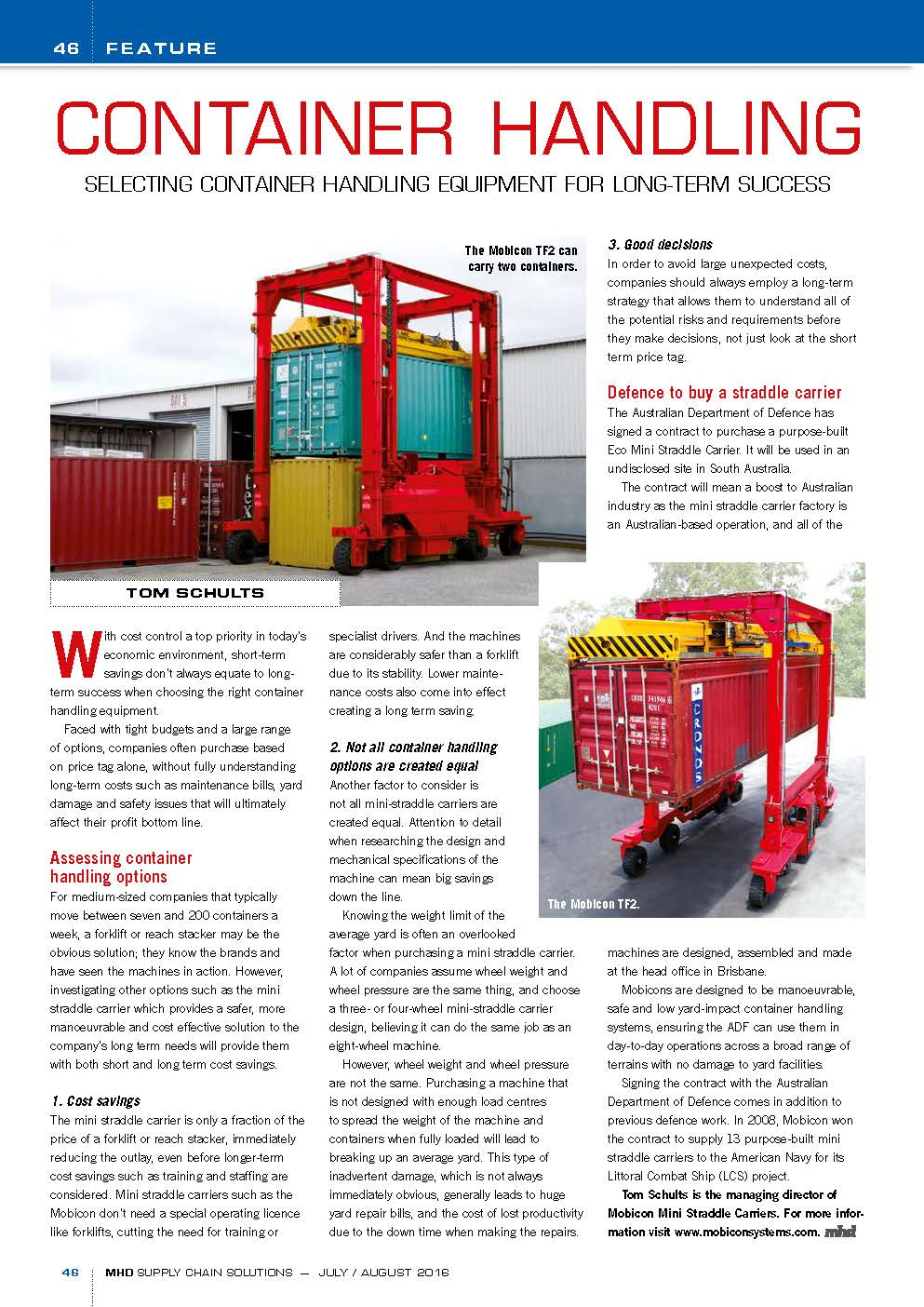 Selecting container handling equipment for long term success
