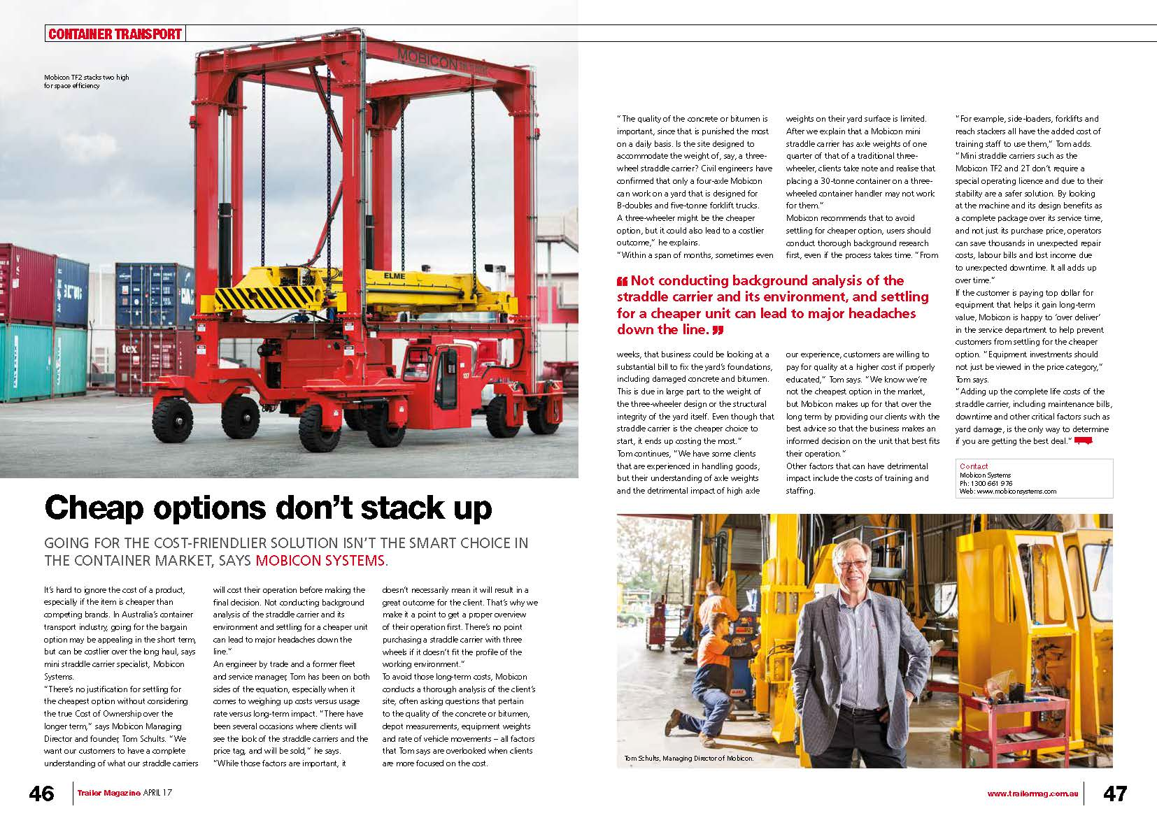 Mobicon straddle carriers the cost-friendly container handling solution